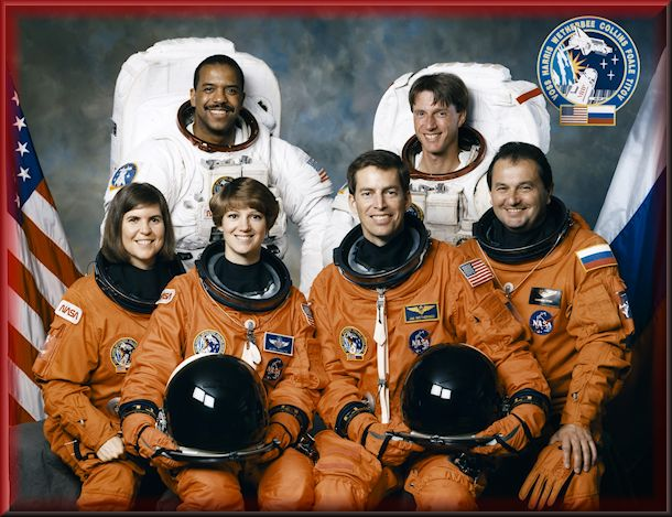 Many milestones for Mission STS-63 Crew of an African American, British American, two women, and a Cosmonaut